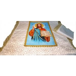 Ритуальный комплект (Иисус) стёг. с ликом (атлас)(покрывала+наволочка)