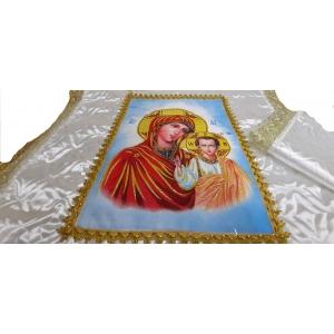 Ритуальный комплект (Мать божья)стёг. с ликом (атлас)(покрывала+наволочка)