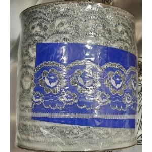 Кружево полька 6,4 белое серебро