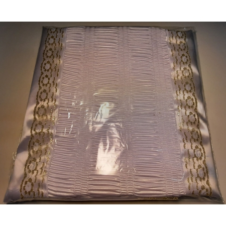 Ритуальный комплект атлас жатка с золотым кружевом (покрывала+наволочка)