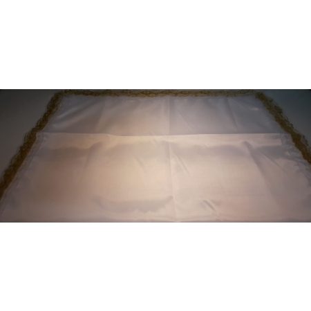 Ритуальное покрывало шелк белое с золотым кружевом