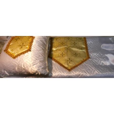 Ритуальный комплект Ладья, золото (покрывало+подушка)