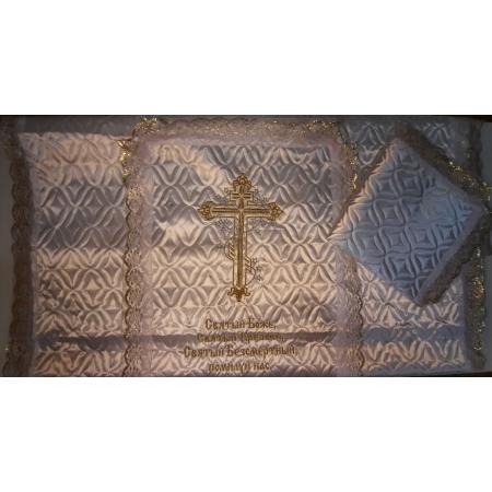 Ритуальное покрывало атлас стеганое с вышивкой Крест