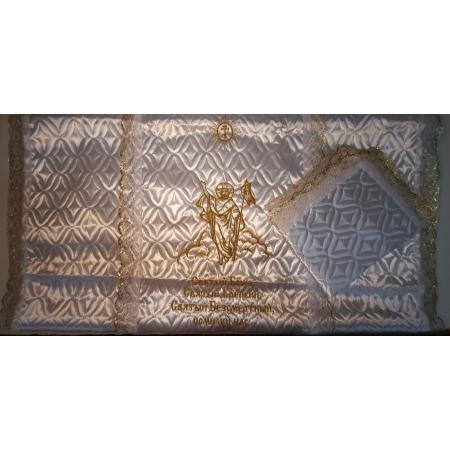 Ритуальное покрывало атлас стеганое с вышивкой Спаситель