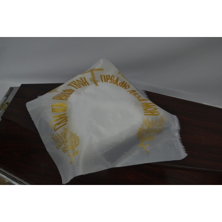 Накидка из шелка церковная (с золотом напылением) 50 х 50 см