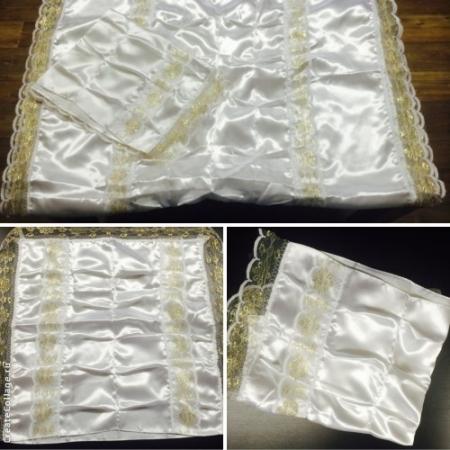 Комплект атласный Гофре (покрывало+наволочка) с золотым кружевом